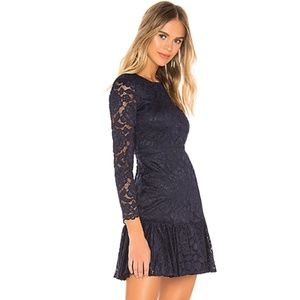 Bardot Rubi Long Sleeve Lace Dress Navy Size 8